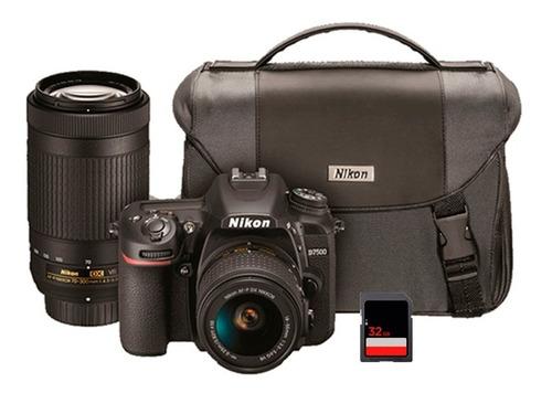 cámara nikon d7500 + 18-55 + 70-300mm vr + memoria sd 32gb