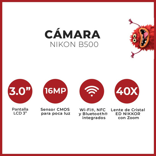 camara nikon digital b500 x40 hd + bolso + 16gb + tripode !!