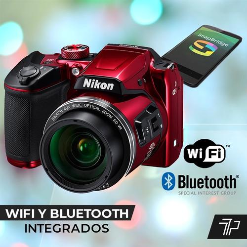 camara nikon digital coolpix b500 hd zoom x40 + 16gb + bolso