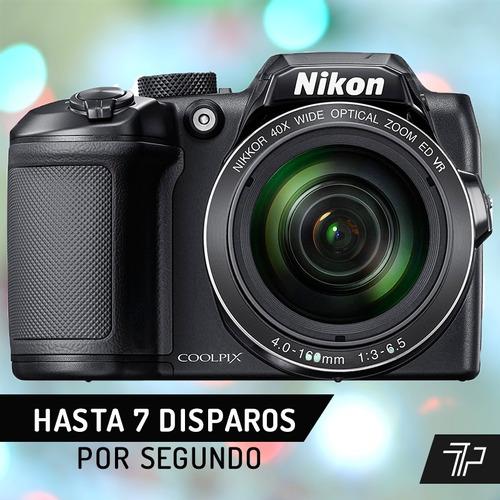 camara nikon digital zoom x40 coolpix b500 hd + 16gb + bolso