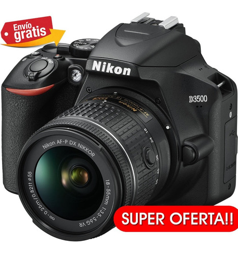 camara nikon profesional d3500 24.2mp +lente 18.55mm remate!