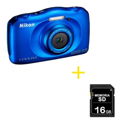 cámara nikon sumergible coolpix w100 + memoria 16gb