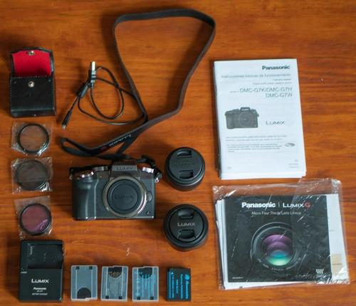camara panasonic lumix g7 4k con lentes 25mm 1.7 y 14-42mm