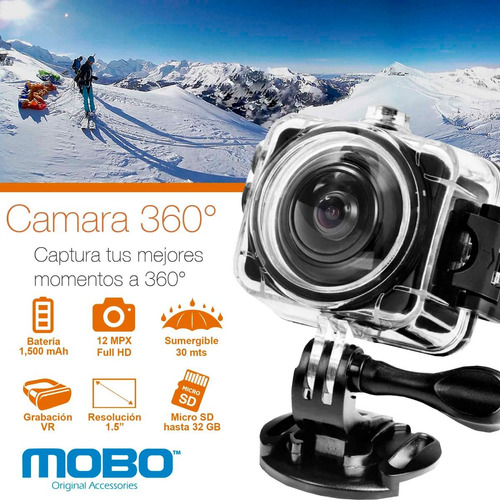 cámara panorámica 360 mobo wifi deportiva sumergible 30mts