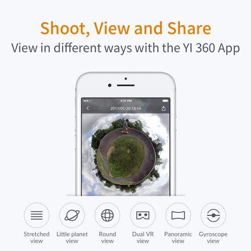 cámara panorámica yi 360 vr cámara de doble resolución 5.