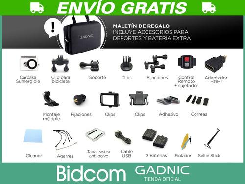 camara para deportes 4k gadnic wifi sumergible + accesorios