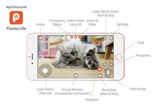 cámara para mascotas pawbo life wi-fi: video hd de 720p, aud