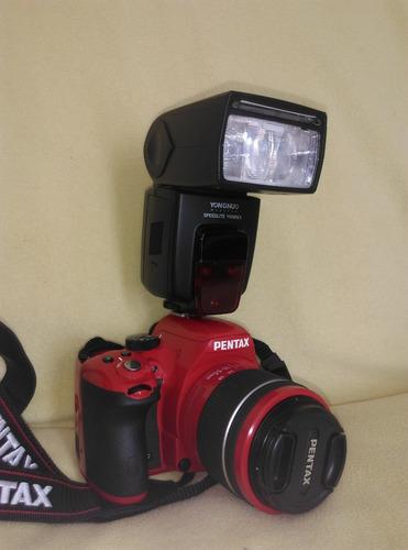 camara pentax k-50 con flash p-ttl y baterias