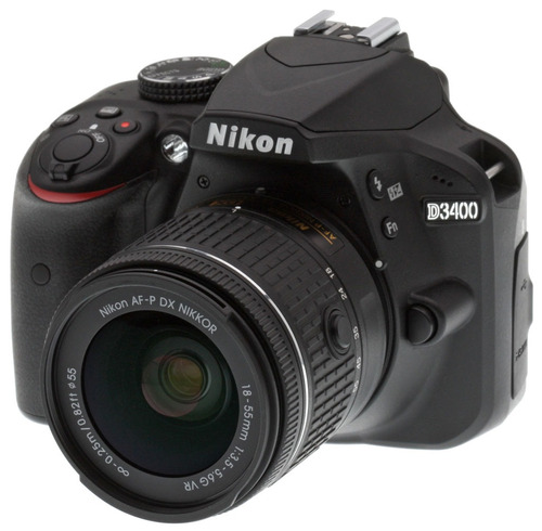 camara profesional nikon d3400 lente18-55mm + gratis estuche