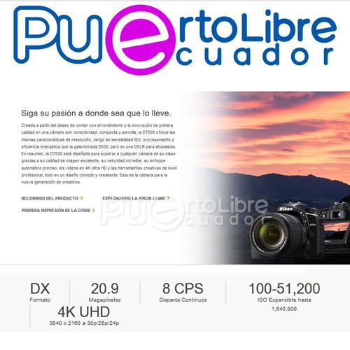 camara profesional nikon d7500 4k + lente + maleta + memoria