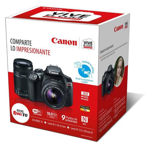 cámara reflex canon eos rebel t6 2 lentes 18-55 y 55-250 msi