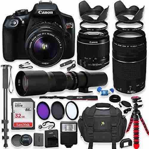 cámara réflex digital canon eos rebel t6 con paquete de lent