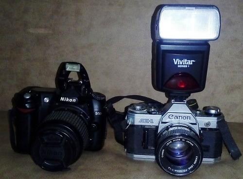 camara reflex digital nikon d50 canon ae-1 tripode manfrotto