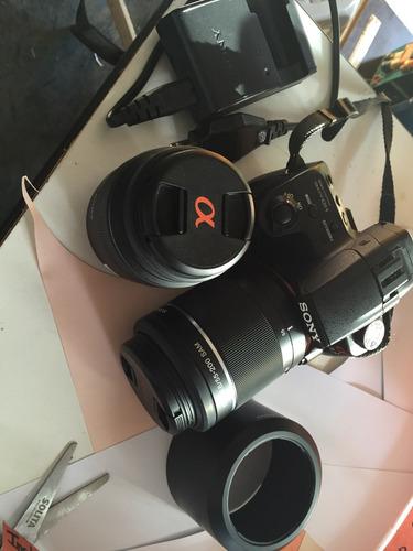 cámara réflex sony alpha 37 16.1 profesional con 2 lentes