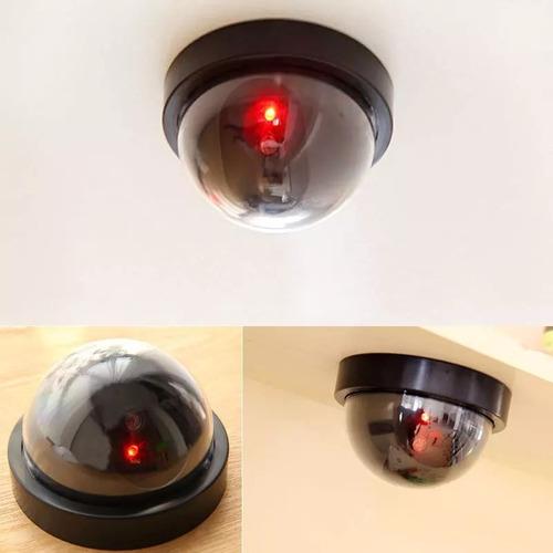 cámara seguridad falsa interior exterior luz led +accesorios