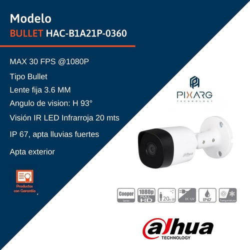 camara seguridad full hd dahua 2 mp 1080p hdcvi exterior dvr