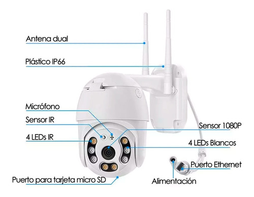 cámara seguridad ip wifi domo ptz 360 exterior full hd flash
