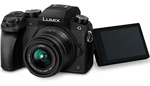 cámara sin espejo panasonic lumix g7 4k, con lente mega oi