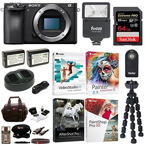 cámara sony a6500 sin espejo con corel software suite y p