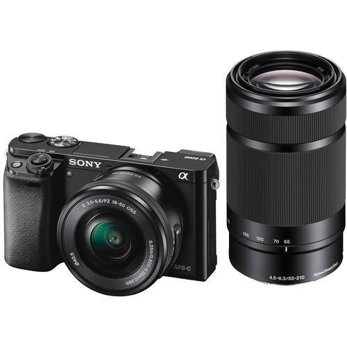 cámara sony alpha a6000 lentes de 16-50 + 55-210 (negro)
