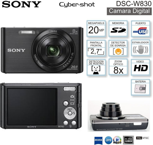 cámara sony cybershot w800 20mp 5x video hd - color negro