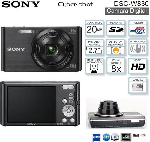 cámara sony cybershot w830 20mp 8x hd + 4gb + estuche + tríp