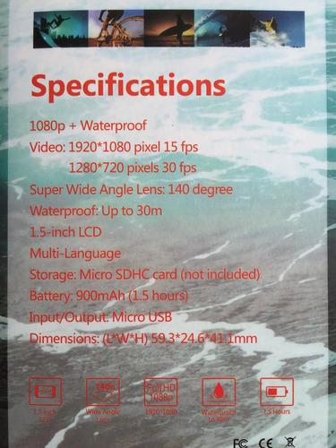 camara sport 5mp pantalla 2 pulg hd acuatica sumergible 30m