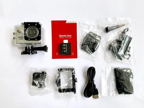 cámara sport hd 1080p, deportiva sumergible +batería extra