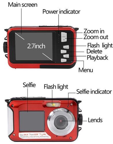 camara sumergible 24mp doble pantalla full hd flash zoom 16x