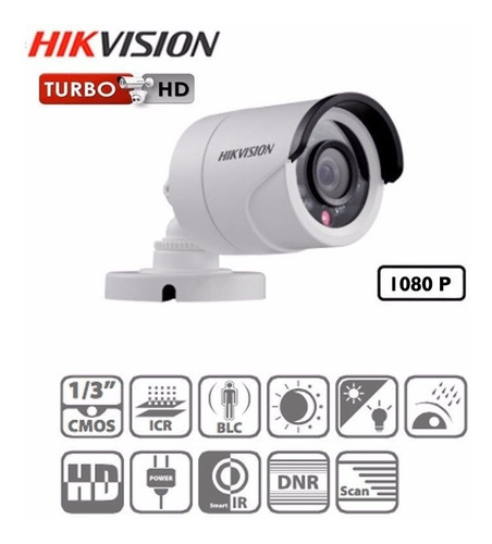 cámara tipo bala hikvision turbo hd 1080p ds2ce16d0tirpf28