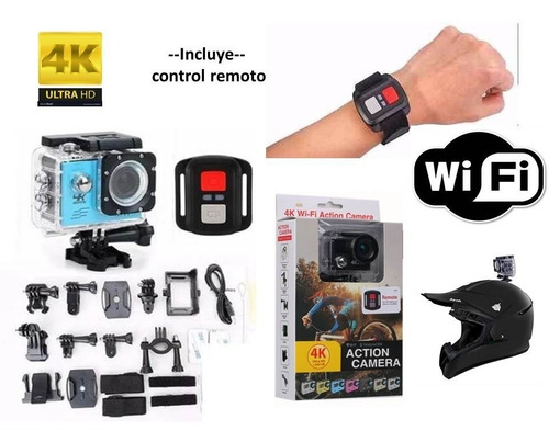 cámara tipo gopro 4k h264 deportiva wi-fi control moto casco