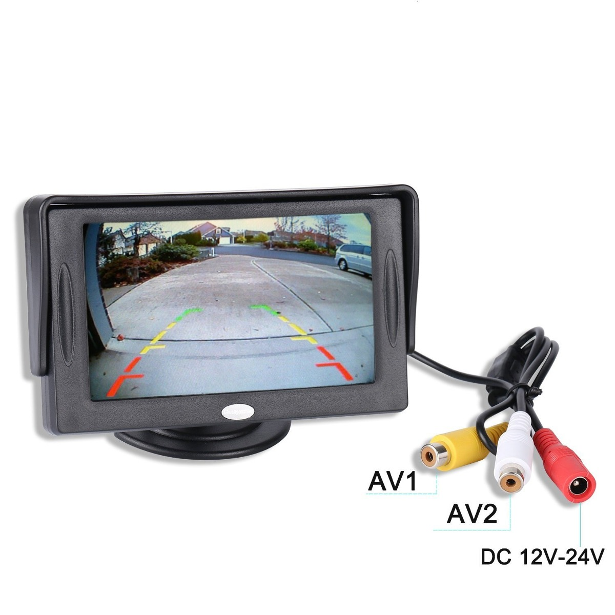 ITK TECHNOLOGY ITKC650T430 Monitor LCD en Espejo de 4.3 Pulgadas Pantalla con l/íneas de gu/ía Visi/ón Nocturna 8 Leds Sistema de visi/ón Trasera C/ámara Impermeable