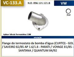 camara valvula termostatica gol/saveiro/parati - curta 82/85