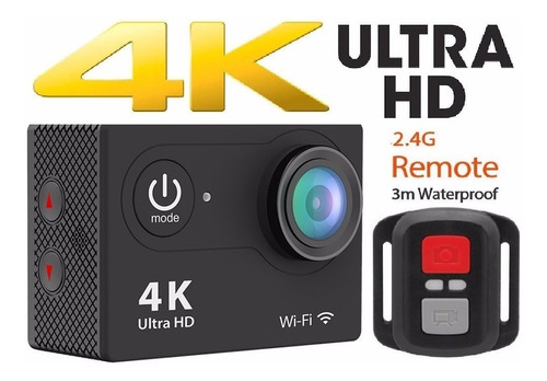 cámara video 4k wifi, 16mpx, 30 mts + control, acción + obsq