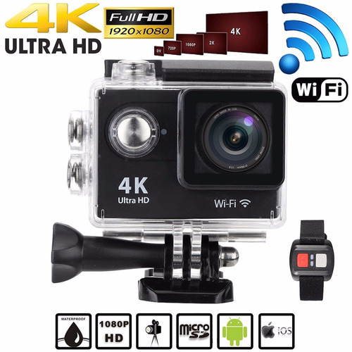 camara video 4k wifi, 16mpx, 30 mts + control, acción + obsq
