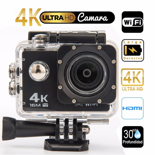 camara video acción 4k, wifi, 16mpx, 30 mts + control + obsq