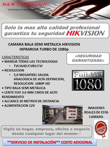 camara vigilancia hikvision 1080p 3.6mm 5.0mpx 20 metros