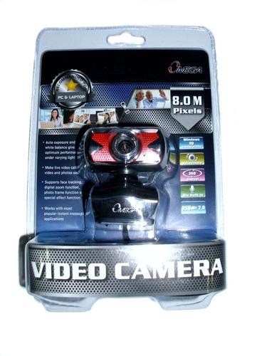 cámara web 300k 8mp roja/negra omega usb 2.0 con micrófono