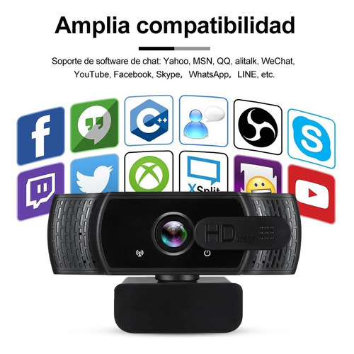 camara web hd 1080p con microfono y tripié zoom usb webcam