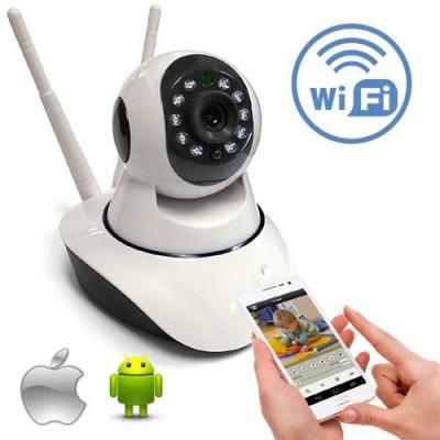 cámara wifi ip robótica doble antena video audio inalámbrica
