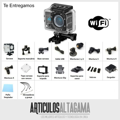 camara wifi video full hd 12mp deportes resistente agua