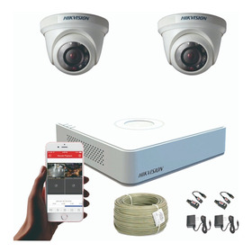 Cámaras De Seguridad Kit 720p Hikvision Mini Dvr 4ch + 2 Cám