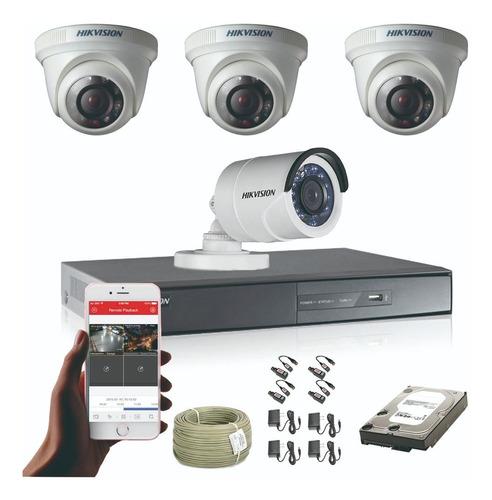 cámaras de seguridad kit cctv 1080p hikvision dvr 8ch + 4cám