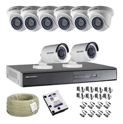 cámaras de seguridad kit cctv hikvision dvr 16ch + 8 cámaras