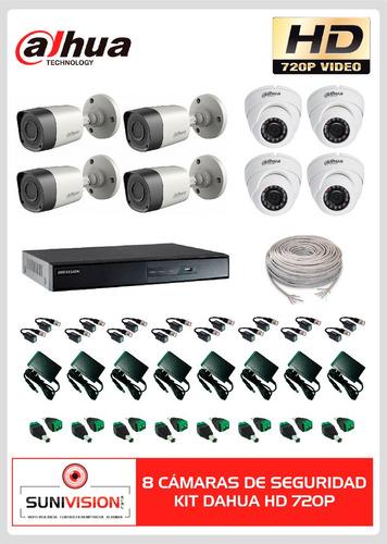 camaras de seguridad kit dahua 8 camaras hd 720p