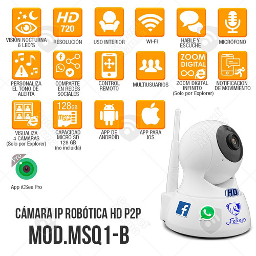 camaras ip robot seguridad app wifi hd espia dvr 128 gb