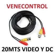 Cable Coaxial Camara Seguridad Cctv Bnc Video Corriente 20m