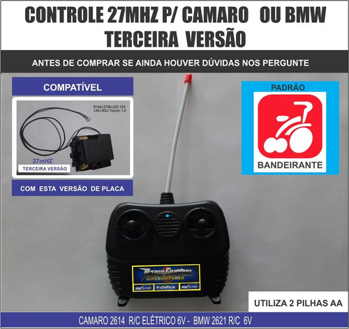 camaro 2614 bandeirante 3å versão - só controle 27mhz
