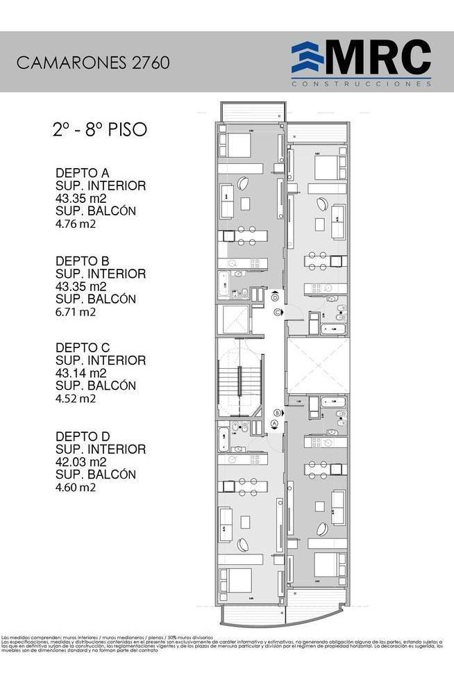 camarones 2760 9°b- departamento de 1 ambiente divisible a a estrenar entrega ya- villa del parque