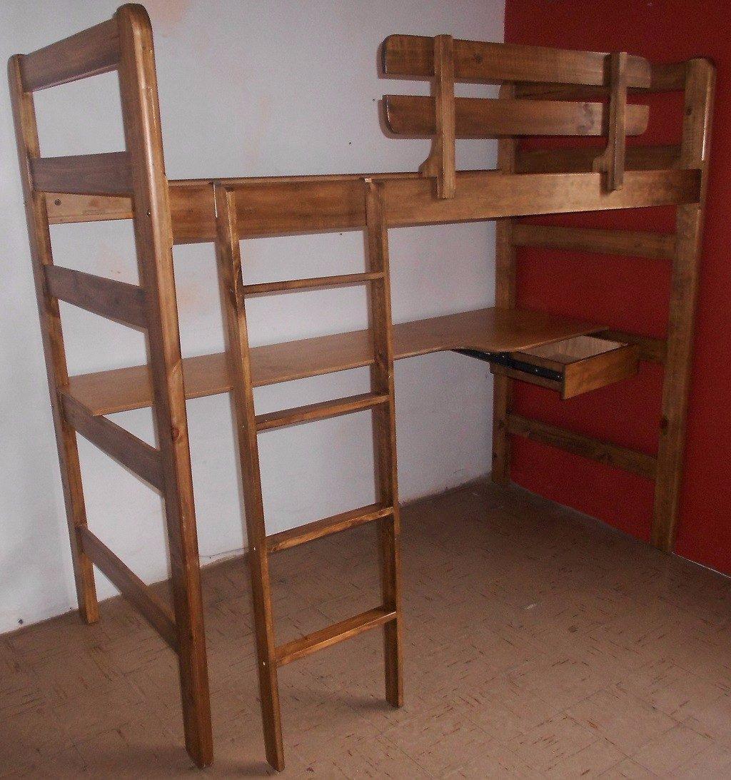 Camarote con escritorio de 1 plaza en mercado for Cama con cama debajo